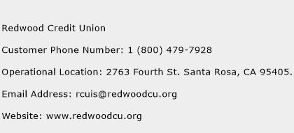Redwood Credit Union Phone Number Customer Service