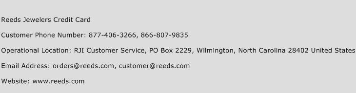 Reeds Jewelers Credit Card Phone Number Customer Service