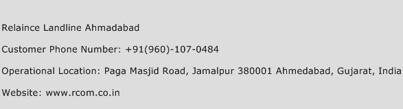 Relaince Landline Ahmadabad Phone Number Customer Service