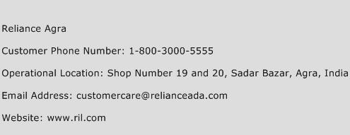 Reliance Agra Phone Number Customer Service