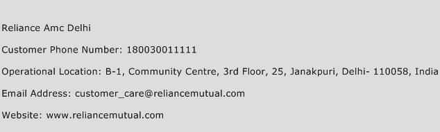 Reliance Amc Delhi Phone Number Customer Service