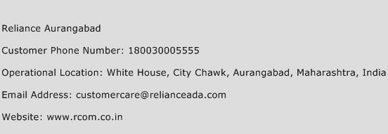 Reliance Aurangabad Phone Number Customer Service