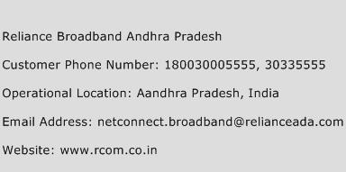 Reliance Broadband Andhra Pradesh Phone Number Customer Service