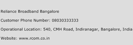 Reliance Broadband Bangalore Phone Number Customer Service