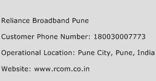 Reliance Broadband Pune Phone Number Customer Service