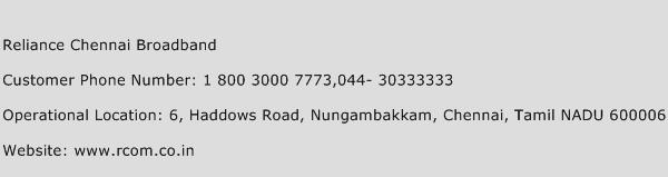 Reliance Chennai Broadband Phone Number Customer Service