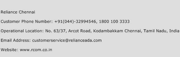 Reliance Chennai Phone Number Customer Service