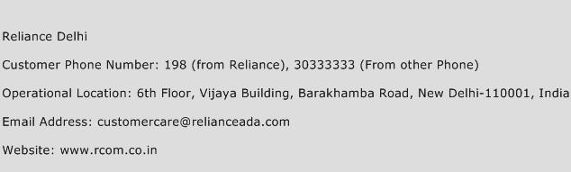 Reliance Delhi Phone Number Customer Service