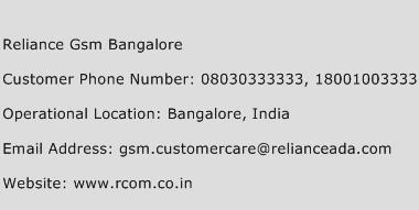 Reliance GSM Bangalore Phone Number Customer Service