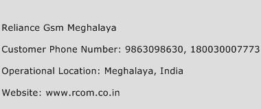 Reliance GSM Meghalaya Phone Number Customer Service