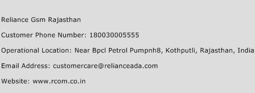 Reliance GSM Rajasthan Phone Number Customer Service