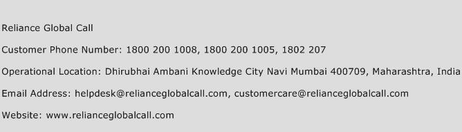 Reliance Global Call Phone Number Customer Service