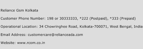 Reliance Gsm Kolkata Phone Number Customer Service