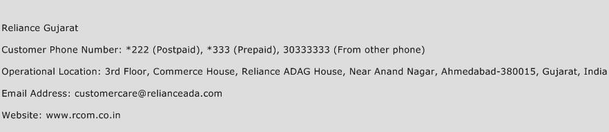 Reliance Gujarat Phone Number Customer Service