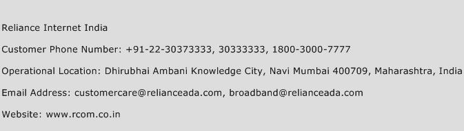 Reliance Internet India Phone Number Customer Service