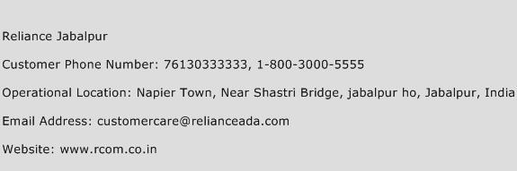 Reliance Jabalpur Phone Number Customer Service