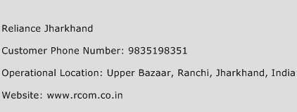 Reliance Jharkhand Phone Number Customer Service