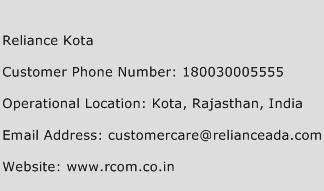 Reliance Kota Phone Number Customer Service