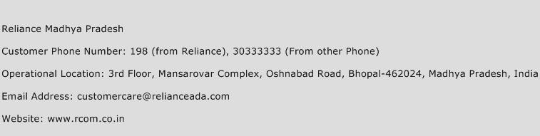Reliance Madhya Pradesh Phone Number Customer Service