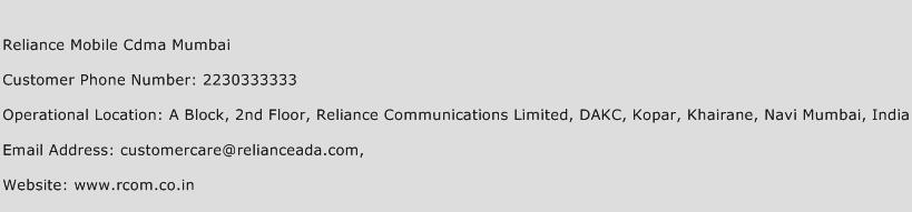 Reliance Mobile Cdma Mumbai Phone Number Customer Service