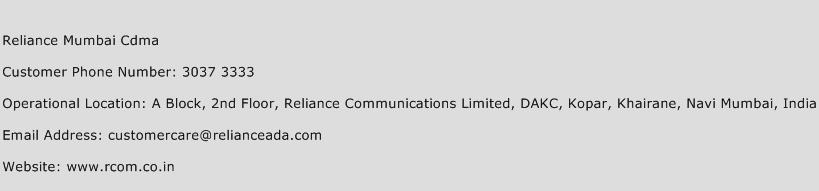 Reliance Mumbai Cdma Phone Number Customer Service