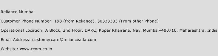 Reliance Mumbai Phone Number Customer Service