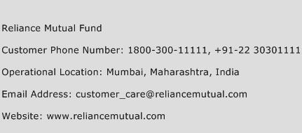 Reliance Mutual Fund Phone Number Customer Service