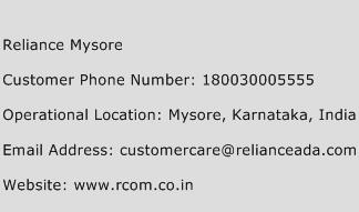 Reliance Mysore Phone Number Customer Service