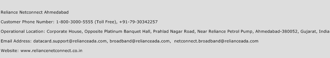 Reliance Netconnect Ahmedabad Phone Number Customer Service