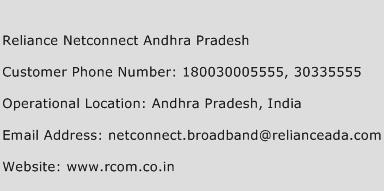 Reliance Netconnect Andhra Pradesh Phone Number Customer Service