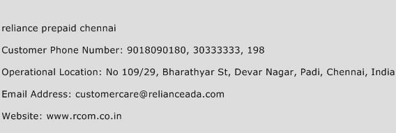 Reliance Prepaid Chennai Phone Number Customer Service