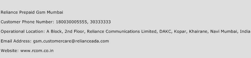 Reliance Prepaid Gsm Mumbai Phone Number Customer Service