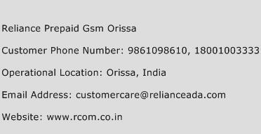 Reliance Prepaid Gsm Orissa Phone Number Customer Service
