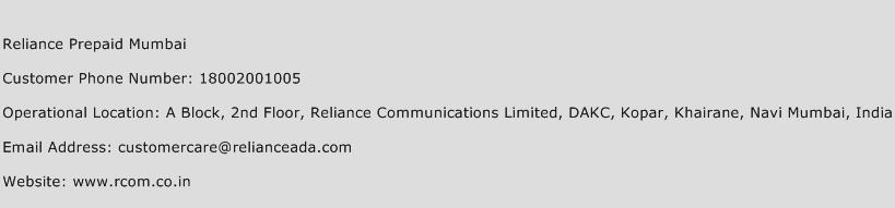 Reliance Prepaid Mumbai Phone Number Customer Service