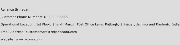 Reliance Srinagar Phone Number Customer Service