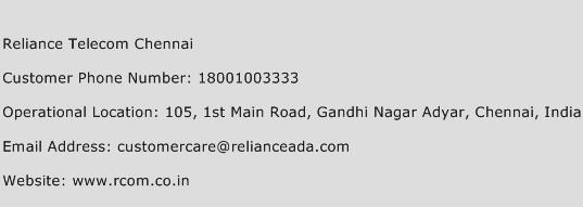 Reliance Telecom Chennai Phone Number Customer Service