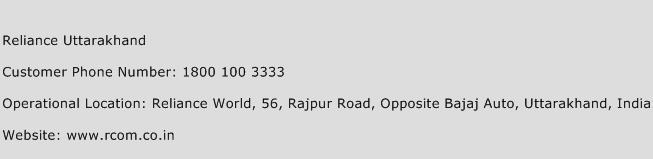Reliance Uttarakhand Phone Number Customer Service
