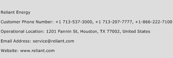 Reliant Energy Phone Number Customer Service