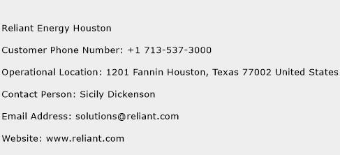 Reliant Energy Houston Phone Number Customer Service