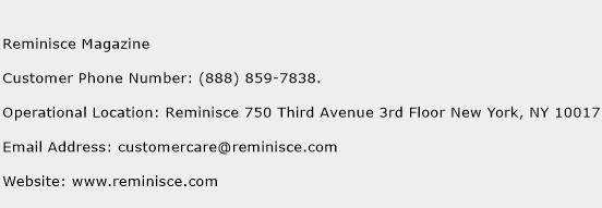 Reminisce Magazine Phone Number Customer Service