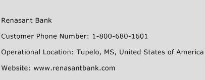 Renasant Bank Phone Number Customer Service