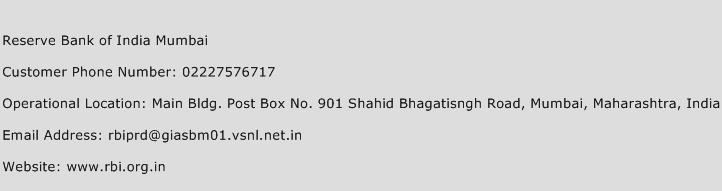 Reserve Bank of India Mumbai Phone Number Customer Service