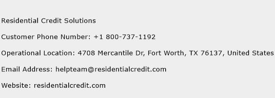 Residential Credit Solutions Phone Number Customer Service