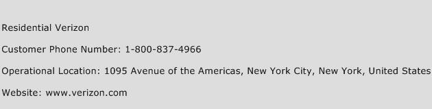 Residential Verizon Phone Number Customer Service