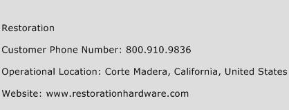 Restoration Phone Number Customer Service