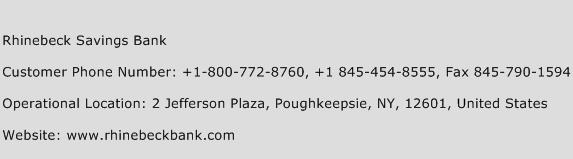Rhinebeck Savings Bank Phone Number Customer Service