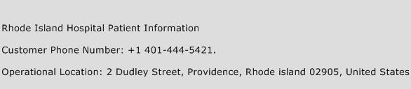 Rhode Island Hospital Patient Information Phone Number Customer Service
