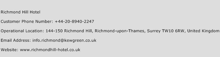 Richmond Hill Hotel Phone Number Customer Service