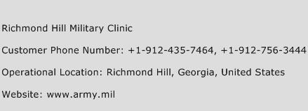 Richmond Hill Military Clinic Phone Number Customer Service