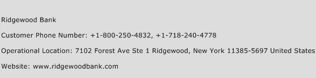 Ridgewood Bank Phone Number Customer Service